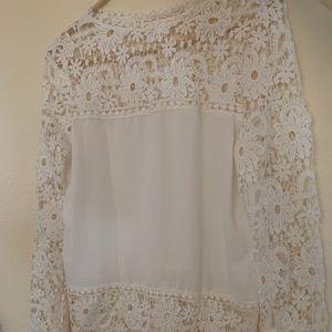 Lace and chiffon blouse